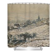 Winter In Giverny Shower Curtain by Claude Monet