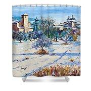 Winter In Lourmarin Shower Curtain by Jean-Marc Janiaczyk