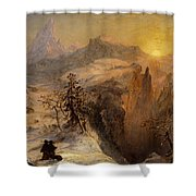 Winter in Switzerland Shower Curtain by Jasper Francis Cropsey