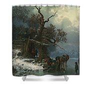 Winter landscape with figures on a frozen river Shower Curtain by Heinrich Hofer