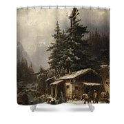 Winter landscape with figures resting near a water mill Shower Curtain by Heinrich Hofer