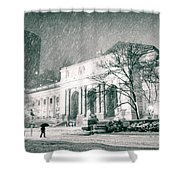 Winter Night In New York City - Snow Falls Onto 5th Avenue Shower Curtain by Vivienne Gucwa