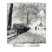 Winter Night - Snow - Madison Square Park - New York City Shower Curtain by Vivienne Gucwa