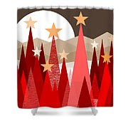 Winter Reds Shower Curtain by Val Arie