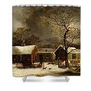 Winter Scene In New Haven Connecticut 1858 By Durrie Shower Curtain by Movie Poster Prints