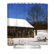 Winter Scenic Farm Shower Curtain by Christina Rollo