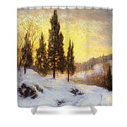 Winter Sundown Shower Curtain by Walter Launt Palmer