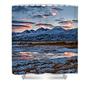 Winter Sunset Reflection Shower Curtain by Cat Connor