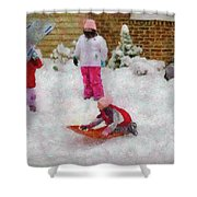 Winter - Winter is Fun Shower Curtain by Mike Savad
