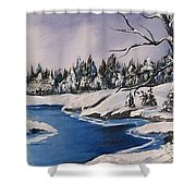 Winter's Blanket Shower Curtain by Sharon Duguay