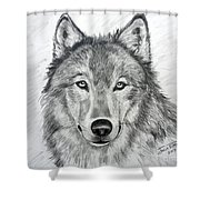 Wolf Shower Curtain by Julie Brugh Riffey