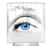 Woman Blue Eye Shower Curtain by Michal Bednarek