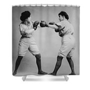 Woman Boxing Shower Curtain by Digital Reproductions