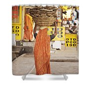 Woman Carrying Cow Dung In Basket On Shower Curtain by Paul Miles