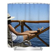 Woman Enjoying The View  Shower Curtain by Aged Pixel