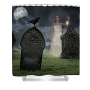 Woman Haunting Cemetery Shower Curtain by Amanda And Christopher Elwell