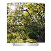 Woman Sitting On Bench - Bright Green Trees Sun Is Shining Shower Curtain by Matthias Hauser