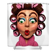 Woman Wearing Curlers Shower Curtain by Amy Vangsgard
