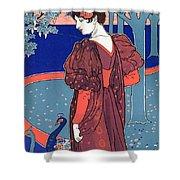 Woman With Peacocks Shower Curtain by Louis John Rhead