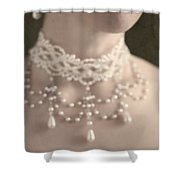 Woman With Pearl Choker Necklace Shower Curtain by Lee Avison