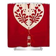 Wooden Heart Shower Curtain by Anne Gilbert