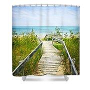 Wooden walkway over dunes at beach Shower Curtain by Elena Elisseeva
