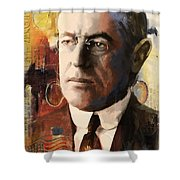Woodrow Wilson Shower Curtain by Corporate Art Task Force