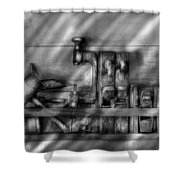 Woodworker - Wood Working Tools Shower Curtain by Mike Savad