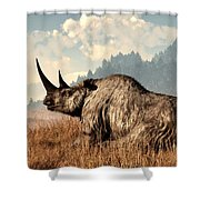 Woolly Rhino And A Marmot Shower Curtain by Daniel Eskridge