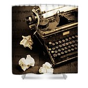 Words Punched On To Paper Shower Curtain by Edward Fielding