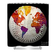 World Map - Rainbow Bliss Baseball Square Shower Curtain by Andee Design