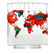 World Map 12 - Colorful Red Map By Sharon Cummings Shower Curtain by Sharon Cummings