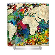 World Map Colorful Shower Curtain by Gary Grayson