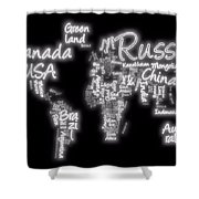 World Map In Text Neon Light Shower Curtain by Dan Sproul
