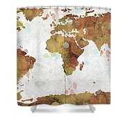 World Map Watercolor 3 Shower Curtain by Paulette B Wright