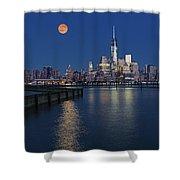 World Trade Center Super Moon Shower Curtain by Susan Candelario