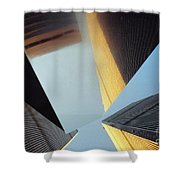 World Trade Center Towers And The Ideogram 1971-2001 Shower Curtain by Nishanth Gopinathan