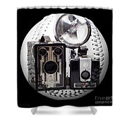 World Travelers Baseball Square Shower Curtain by Andee Design