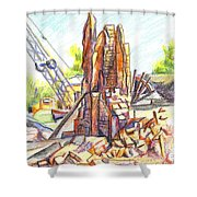 Wrecking Ball Shower Curtain by Kip DeVore