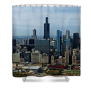 Wrigley And Us Cellular Fields Chicago Baseball Parks 3 Panel Composite 01 Shower Curtain by Thomas Woolworth