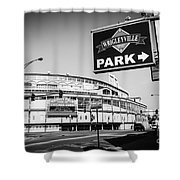 Wrigley Field And Wrigleyville Signs In Black And White Shower Curtain by Paul Velgos