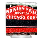 Wrigley Field Chicago Cubs Sign Digital Painting Shower Curtain by Paul Velgos