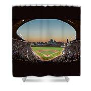 Wrigley Field Night Game Chicago Shower Curtain by Steve Gadomski