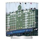 Wrigley Field Scoreboard Sign Shower Curtain by Paul Velgos
