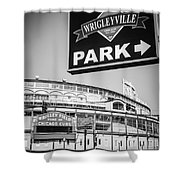 Wrigleyville Sign And Wrigley Field In Black And White Shower Curtain by Paul Velgos