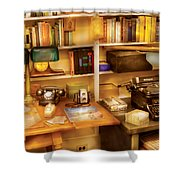 Writer - The desk of a writer  Shower Curtain by Mike Savad