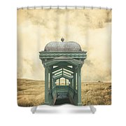Wrong Train Right Station Shower Curtain by Edward Fielding