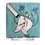 Xrayed Tooth Shower Curtain by Anthony Falbo