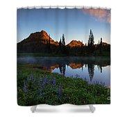 Yakima Peak Sunrise Shower Curtain by Mike  Dawson
