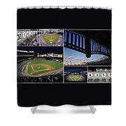 Yankee Stadium Collage Shower Curtain by Allen Beatty